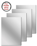 Flexible Mirrored Sheets with Adhesive Back, 4 Count, 15cm x 23cm each