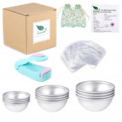 Duzcli 6 Sets DIY Metal Bath Bomb Mould 12 PCS 3 Sizes with 100 Packs 15cm X 15cm Shrink Wrap Bags,2 PCS Gift Bags and 1 PCS Mini Heat Sealer for Crafting