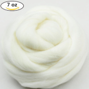 200g210ml Natural White Wool Roving Fibre Spin For Needle Felting Hand Spinning DIY