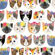 Hippie Kitty Cats Gift Wrap Flat Sheet 60cm X 1.8m - Gift Wrapping Paper