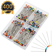 SUBANG 400 Pieces Sewing Pins Glass Head Multicolor Pins for Dressmaking Jewellery Components Flower Decoration With Transparent Cases