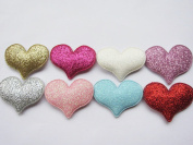 YYCRAFT Pack Of 80 Glitter Heart Padded 3.8cm Appliques -8 Colours