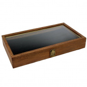 Brown Colour Wood Jewellery / Bead Storage Box in TEMPERED Glass Top Lid With Velvet Black Pad Display Box Case Medals Awards Jewellery Knife