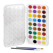 Artlicious - 36 Watercolour Cakes Paint Set with Built In Palette Lid Case & 2 Brushes