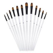 Ngwall Paint Brush Set Round and Flat Nylon Hair Stylist Watercolour Oil Painting Brush (White 12) For Acrylic, Watercolour Oil Painting Brush