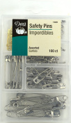 Dritz 1480 Assorted Safety Pins with Storage Box Safety Pins with Plastic Storage Box, Assorted - 100Count