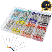 SUBANG 1200 Pcs Sewing Pins 38mm Multicolor Glass Ball Head Pins for Dressmaking Jewellery Components Flower Decoration With Transparent Cases