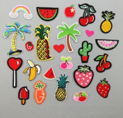 Yulakes 24 pcs Patch Stickers / Patches Stickers / Cute DIY Clothing Patches Stickers Fruit Fruit Patches for T-Shirt Jeans Clothes Bags