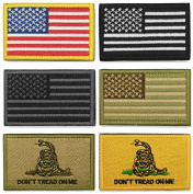 WZT Bundle 6 pieces american flag Tactical Military Morale Hook and loop Patch Set