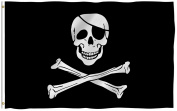 ANLEY [Fly Breeze] 0.9m x 1.5m Jolly Roger Flag with Patch - Vivid Colour and UV Fade Resistant - Canvas Header and Double Stitched - Pirate Flags Polyester with Brass Grommets 0.9m X 1.5m