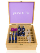 Essential Oils Wooden Bamboo Box with Complete Blending Kit holds 50 bottles of all sizes, includes roll-on, spray, and dropper bottles, blending tools, stickers ideal for Aromatherapy