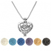 Top Plaza Lava Stone Aromatherapy Essential Oil Diffuser Necklace Silver Locket Pendant With 6 Dyed Lava Beads