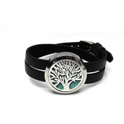 Essential Oil Diffuser Bracelet , Aromatherapy Locket Stainless Steel Real Leather Bracelet with 8 Colour Pads