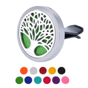 Tree of Life Car Air Freshener Aromatherapy Essential Oil Diffuser - 316L Stainless Steel Locket Vent Clip With 10 Washable Felt Pads