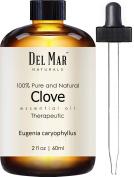 Del Mar Naturals Clove Oil; 100% Pure and Natural, Therapeutic Grade Clove Leaf Essential Oil, 60ml