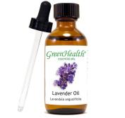 Lavender – 2 fl oz (59 ml) Glass Bottle w/ Glass Dropper – 100% Pure Essential Oil – GreenHealth