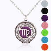 Zodiac Sign Virgo Pendant Necklace for Aromatherapy Essential Oil Fragrance Diffuser Pendant Locket Jewellery Chain Copper Perfume Necklace with 5 Refill Pads