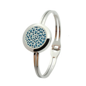 316L-Stainless Steel Aromatherapy Diffuser Filigree Hollow Locket Silver Solid Bracelet for Essential Oils