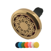 Car Diffuser Essential Oil Vent Clip Air Freshener Elegant Gold Plated Hypo-Allergenic Stainless Steel Portable Aromatherapy Sunflower Pendant Gift Box Set