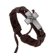 Born Beauty Personal Retro Vintage Men Women Bracelets Leather Cross Wristband