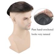 SinoArt Men's Hairpiece Human Hair Toupee Wig Super Thin Skin Hair Replacement Base Size 20cm x 25cm #4 Dark Brown