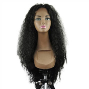 GEX 46cm - 70cm Synthetic Front Lace Wigs Water Wave Front Hand Knotted Fibre Full Wigs Natural Black 70cm