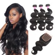 VRBest 7A Brazilian Virgin Hair 3 Bundles With Closure 100% Unprocessed Human Hair Weave Extensions With Lace Closure Brazilian Body Wave