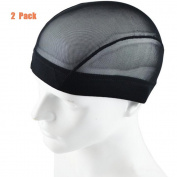 Garrelett 2 Pack Wig Caps - Weaving Stretchable Net Mesh Fishnet Elastic Dome Cap
