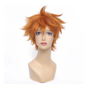 NiceLisa Short Fluffy Orange Fashion Boy Teens Cosplay Costume Wig Anime Hair