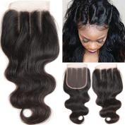 25cm 3 Part Lace Closure Body Wave 4x 4 Brazilian Virgin Human Hair 100% Unprocessed Three Part Lace Closure Natural Colour 25cm for Black Women