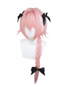 ROLECOS Astolfo Cosplay Wig Mens Long Braided Synthetic Hair Wigs Pink