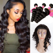 B & Q 8A 360 Lace Frontal Loose Wave Natural Hairline With Baby Hair 360 lace frontal with Bundles Virgin Brazilian Human Hair