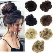 Haironline Scrunchie Scrunchy Bun Up Do Hair piece Hair Ribbon Ponytail Extensions Wavy Curly or Messy brown