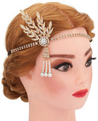 Pearl Art Deco 1920's Flapper Great Gatsby Inspired Leaf Medallion Pearl Headpiece Headband