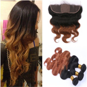 Tony Beauty Hair Two Tone 1B/30 Ombre Brazilian Virgin Human Hair With Silk Base Frontal 4Pcs Lot Body Wave Medium Auburn Ombre Silk Top 13x4 Lace Frontal Closure With 3 Bundles