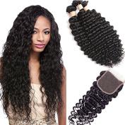 BEIRI Hair Grade 8A Brazilian Deep Wave With Lace Closure 4x 4 Swiss Lace Closure Free Part Medium Brown Brazilian Virgin Hair 3 Bundles with Closure