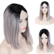 Short Bob Wig Synthetic Glueless Lace Front Wig Straight Ombre 38cm Deep Invisible with Natural Hairline 38cm Natural Black to Silver Grey 2 Tone Colour