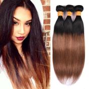 KOAI Ombre Unprocessed Virgin Peruvian Hair 100% Human Hair Straight Human Hair Extensions 1b/30# Colour Mixed Length