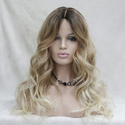 YAMEIJIA Quality Heat Resistant Ombre Dark Brown to Blonde Wavy Long Wig small edge lace front