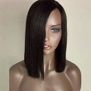 YAMEIJIA Fashion Natural Black Colour Bob Straight Synthetic Lace Front Wig Heat Resistant Synthetic Hair Wigs