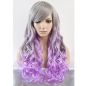 TKEKON Long Curly Full Head Grey Ombre Lavender Wigs Natural Wavy Wigs for Cosplay Costume Party Come with Wig Cap