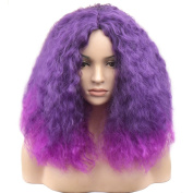 TKEKON Full Head Short Curly Wigs Ombre Purple Kinky Wigs for Cosplay Party Halloween Come with Wig Cap