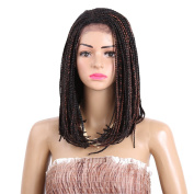 YUOIOYU Synthetic Bobo Wigs 41cm Synthetic Lace Front Wig with Baby hair Box Braiding Hair Dark Brown for African American Women