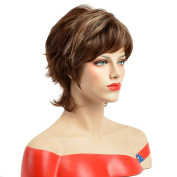 TKEKON Short Curly Brown Highlights Blonde Wigs Layered Wigs with Natural Bangs Come with Wig Cap