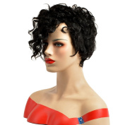 TKEKON Short African Wig Natural Curly Female Synthetic Wigs for Party or Daily Use Come with Wig Cap