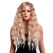 TKEKON Long Curly Ombre Blonde Wigs Fully Synthetic Kinky Wigs for Women Girls Come with Wig Cap