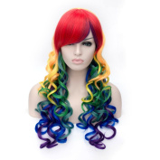 Alacos Synthetic 2 Colour Long Curly Christmas Costumes Cosplay Full Wig for Women +Wig Cap