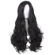 YUOIOYU 2017 New Movie Wonder Woman Black Wavy Wig Diana Prince Cosplay Wig Gal Gadot Role Play wig with hair net