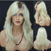 Wigsforyou New Women's Long Wavy Blonde Ombre Wig Natural Looking Hair Synthetic Curly Wigs