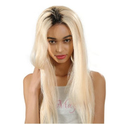 Wigsforyou 1B/613 Blonde Colour Dark Roots Long Straight Ombre Blonde Synthetic Wigs